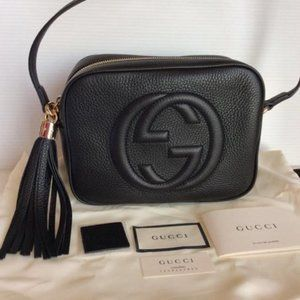 Authentic Gucci Soho Black Bag Disco with Insert